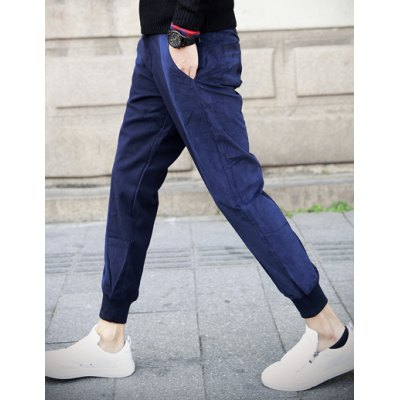 Здесь можно купить   Thicken Slimming Trendy Color Block Velour Splicing Beam Feet Cotton Blend Joggers Pants For Men