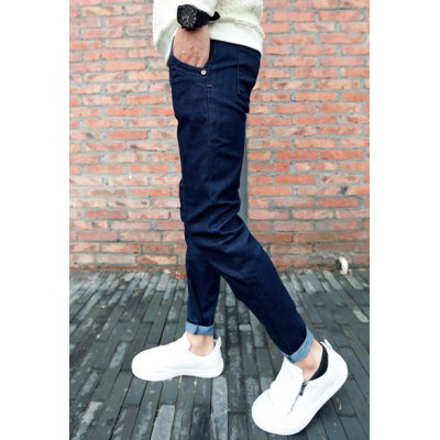 Гаджет   Slimming Fashion Solid Color Sutures Design Narrow Feet Jeans For Men Pants