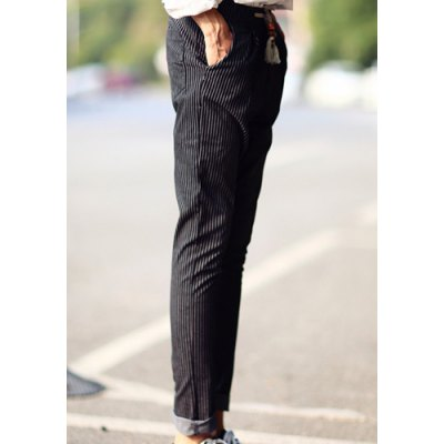 Гаджет   Slimming Trendy Lace-Up Bleach Wash Stripe Design Narrow Feet Cotton Blend Pants For Men Pants