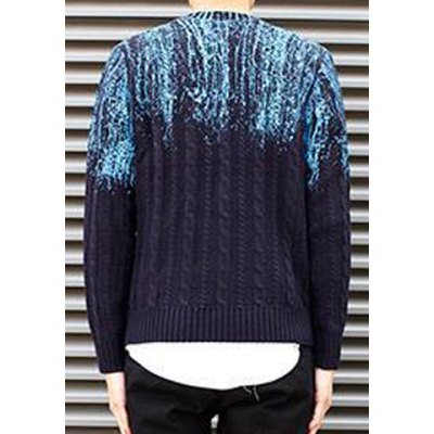 Гаджет   Stylish Round Neck Slimming Color Block Print Design Long Sleeve Woolen Blend Sweater For Men Sweaters & Cardigans