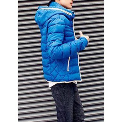 Гаджет   Stylish Hooded Detachable Slimming Color Splicing Sutures Design Long Sleeve Thicken Cotton Blend Coat For Men Jackets & Coats
