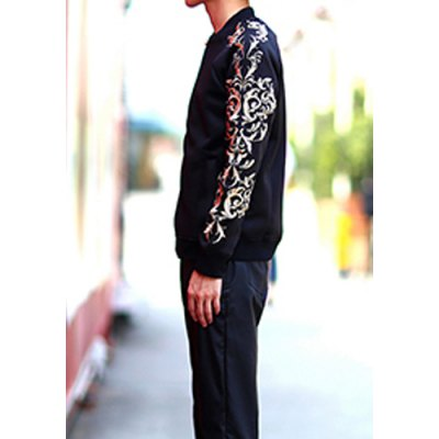 Гаджет   Stylish Stand Collar Slimming Ethnic Embroidered Long Sleeve Polyester Jacket For Men Jackets & Coats