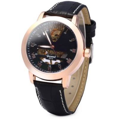 ФОТО Gucamel G039 Men Automatic Mechanical Watch Hollow - out Genuine Leather Band Round Dial
