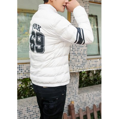Гаджет   Stylish Stand Collar Slimming Number Stripe Print Long Sleeve Thicken Cotton Blend Coat For Men Jackets & Coats