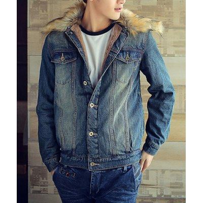 Гаджет   Stylish Turndown Collar Slimming Bleach Wash Pocket Design Long Sleeve Thicken Denim Coat For Men Jackets & Coats
