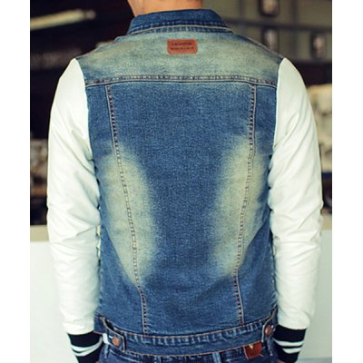 Гаджет   Stylish Shirt Collar Slimming Color Block Fabric Splicing Long Sleeve Thicken Denim Coat For Men Jackets & Coats