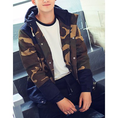 Гаджет   Stylish Hooded Slimming Button Design Camo Splicing Long Sleeve Thicken Cotton Blend Coat For Men Jackets & Coats