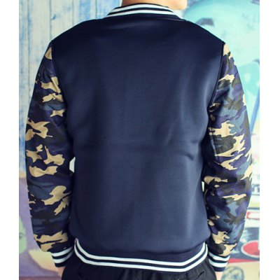 Гаджет   Stylish Stand Collar Slimming Stripe Camo Splicing Long Sleeve Thicken Cotton Blend Coat For Men Jackets & Coats