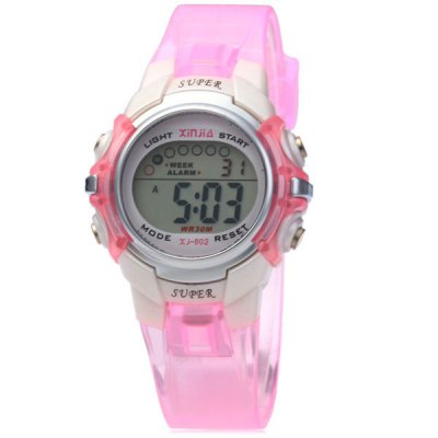 Xinjie 802 LED Sports Watch 30M Water Resistant Alarm Week for ChildrenSports Watches<br>Xinjie 802 LED Sports Watch 30M Water Resistant Alarm Week for Children<br><br>People: Children watch<br>Watch style: LED, Fashion&amp;Casual, Outdoor Sports<br>Available color: Black, White, Pink, Blue, Orange<br>Shape of the dial: Round<br>Movement type: Digital watch<br>Display type: Digital<br>Case material: PC<br>Band material: Rubber<br>Clasp type: Pin buckle<br>Special features: Week, Alarm clock, EL Back-light<br>Water Resistance: 30 meters<br>The dial thickness: 1.3 cm / 0.5 inches<br>The dial diameter: 3.3 cm / 1.3 inches<br>The band width: 1.5 cm / 0.6 inches<br>Product weight: 0.026 kg<br>Package weight: 0.073 kg<br>Product size (L x W x H) : 22 x 3.3 x 1.3 cm / 8.7 x 1.3 x 0.5 inches<br>Package size (L x W x H): 7.5 x 4.7 x 7.3 cm<br>Package contents: 1 x Watch, 1 x Box