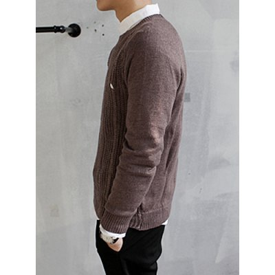 Гаджет   Stylish Round Neck Slimming Solid Color Hole Design Long Sleeve Cashmere Blend Sweater For Men Sweaters & Cardigans