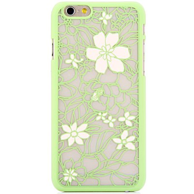 ФОТО New Dual Colors Fluorescent Transparent PC Back Case Cover of Flower and Leaves Pattern for iPhone iPhone 6  -  4.7 inches