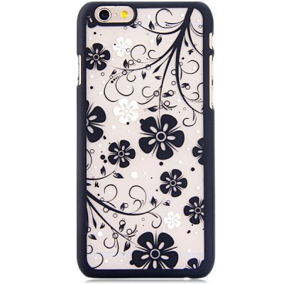 ФОТО New Dual Colors Fluorescent Transparent PC Back Case Cover of Flower Pattern for iPhone iPhone 6  -  4.7 inches
