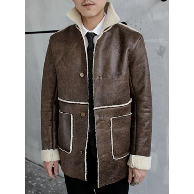 Гаджет   Stylish Turndown Collar Slimming Large Pocket Cashmere Liner Long Sleeve PU Leather Coat For Men Jackets & Coats