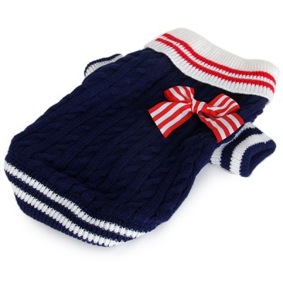 L Size Warm Pet Clothes Navy Knitted Sweater for Doggy  -  Blue