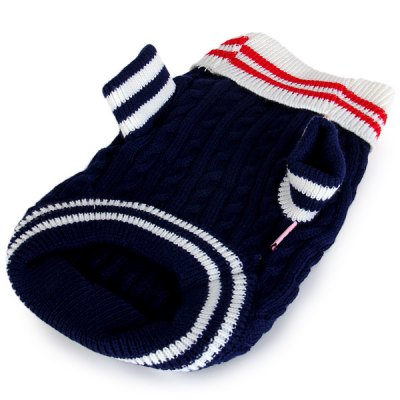 Фотография S Size Warm Pet Clothes Navy Knitted Sweater for Doggy  -  Blue