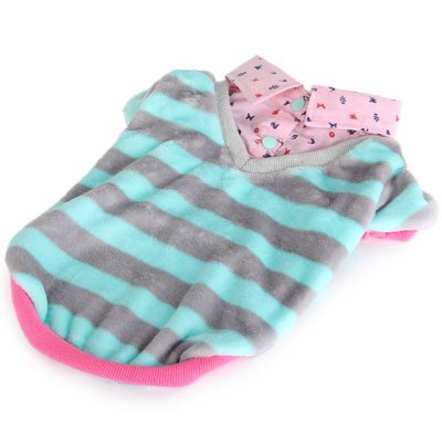 L Size Warm Pet Clothes Stripe Style Collared Shirt for Doggy