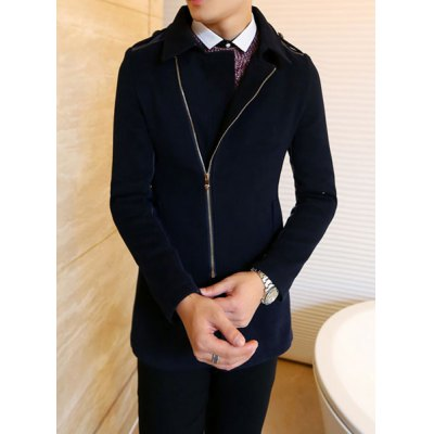 Гаджет   Stylish Turndown Collar Slimming Zipper Design PU Leather Splicing Long Sleeve Thicken Woolen Blend Coat For Men Jackets & Coats