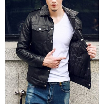 Гаджет   Stylish Turndown Collar Slimming Multi-Pocket Long Sleeve Thicken PU Leather Coat For Men Jackets & Coats