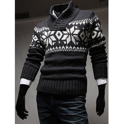 Stylish Stand Collar Slimming Christmas Snowflake Jacquard Long Sleeve Polyester Sweater For MenMens Sweaters &amp; Cardigans<br>Stylish Stand Collar Slimming Christmas Snowflake Jacquard Long Sleeve Polyester Sweater For Men<br><br>Type: Pullovers<br>Material: Polyester<br>Sleeve Length: Full<br>Collar: Mandarin Collar<br>Style: Fashion<br>Weight: 0.504KG<br>Package Contents: 1 x Sweater