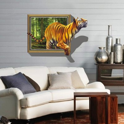 Removable Home Decor Novelty 3D Tiger Pattern Wall Sticker Art Mural Christmas Home Ornament