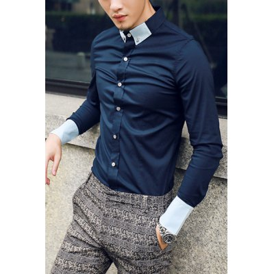 Гаджет   Stylish Shirt Collar Slimming Button Design Color Splicing Long Sleeve Polyester Shirt For Men Shirts