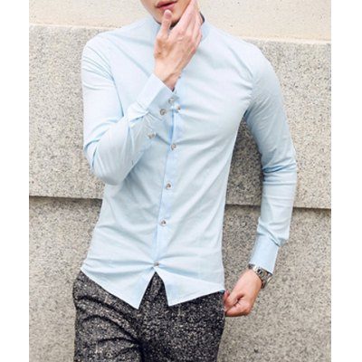 Гаджет   Stylish Stand Collar Slimming Solid Color Button Design Long Sleeve Cotton Blend Shirt For Men Shirts