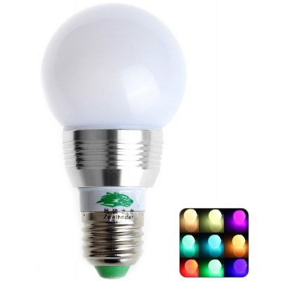 Zweihnder E27 3W Dimmable Remote Controlled RGB Ball Bulb