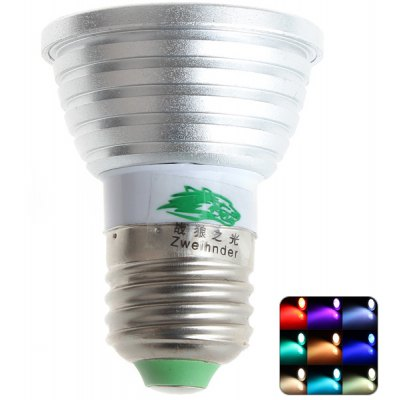 Zweihnder E27 3W Dimmable Remote Controlled RGB Spot Bulb
