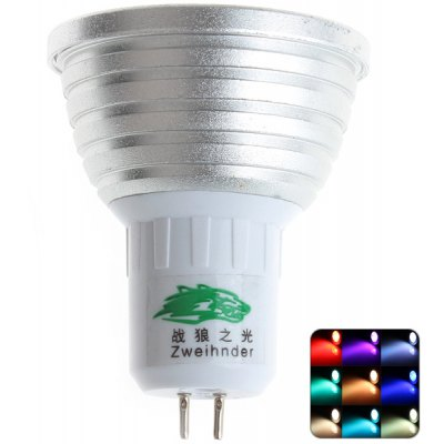 Zweihnder GU5.3 3W Dimmable RGB Spot Bulb 450 - 700nm Remote Controlled Light