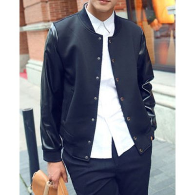 Гаджет   Stylish Stand Collar Slimming PU Leather Splicing Long Sleeve Polyester Coat For Men Jackets & Coats