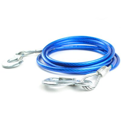 Фотография 4M 5t Steel Wire Tow Cable Strap Rope with Hooks Car Truck Emergency Gadget
