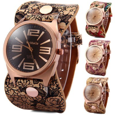 Womage 9317 - B Women Quartz Watch Round Dial Flower Leather Band