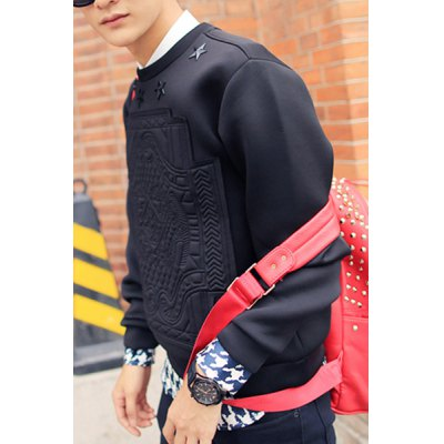 ФОТО Stylish Round Neck Slimming Metal Stars Pattern Design Long Sleeve Cotton Blend Sweatshirt For Men