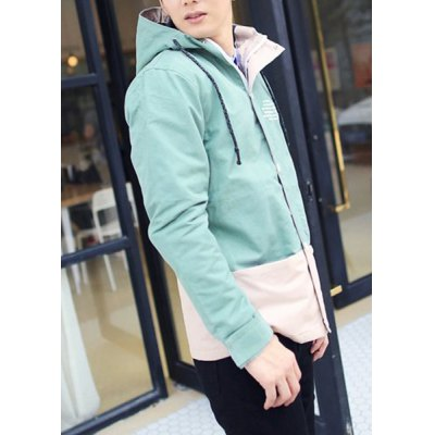Гаджет   Fashion Style Hooded Slimming Letters Print Color Splicing Long Sleeves Men