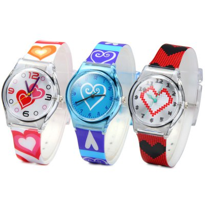 Children Christmas Gift Quartz Watch Heart Pattern Round Dial Rubber Watch BandKids Watches<br>Children Christmas Gift Quartz Watch Heart Pattern Round Dial Rubber Watch Band<br><br>Watches categories: Children watch<br>Watch style: Fashion<br>Available color: Pink, Blue, Red<br>Movement type: Quartz watch<br>Shape of the dial: Round<br>Display type: Analog<br>Case material: Plastic<br>Band material: Rubber<br>Clasp type: Pin buckle<br>The dial thickness: 0.9 cm / 0.4 inches<br>The dial diameter: 3.3 cm / 1.3 inches<br>The band width: 1.6 cm / 0.6 inches<br>Product weight: 0.019 kg<br>Product size (L x W x H) : 24.5 x 3.3 x 0.9 cm / 9.6 x 1.3 x 0.4 inches<br>Package contents: 1 x Watch