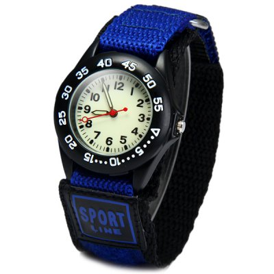 Quartz Watch Round Dial Velcro Nylon Band for ChildrenKids Watches<br>Quartz Watch Round Dial Velcro Nylon Band for Children<br><br>Watches categories: Children watch<br>Watch style: Fashion<br>Available color: Black,Red,Blue<br>Movement type: Quartz watch<br>Shape of the dial: Round<br>Display type: Analog<br>Case material: Stainless Steel<br>Band material: The other<br>Clasp type: Bilateral according to buckle<br>The dial thickness: 1.0 cm / 0.4 inches<br>The dial diameter: 3.2 cm / 1.3 inches<br>The band width: 2.5 cm / 1.0 inches<br>Product size (L x W x H): 25.50 x 3.20 x 1.00 cm / 10.04 x 1.26 x 0.39 inches<br>Package Contents: 1 x Watch