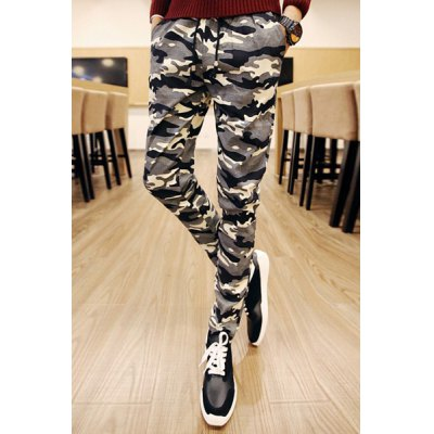 Гаджет   Slimming Trendy Lace-Up Camo Print Narrow Feet Cotton Blend Pants For Men Pants