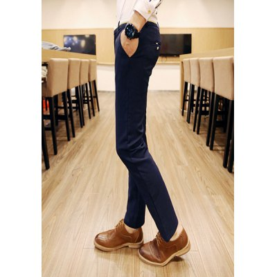 Гаджет   Slimming Trendy Pocket Button Design Color Splicing Narrow Feet Cotton Blend Pants For Men