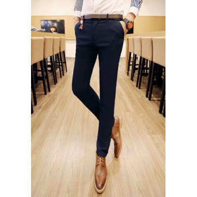 Гаджет   Slimming Trendy Simple Solid Color Narrow Feet Cotton Blend Pants For Men Pants