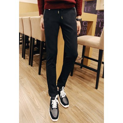 Гаджет   Slimming Trendy Lace-Up Color Block Stripe Splicing Metal Design Narrow Feet Cotton Blend Pants For Men