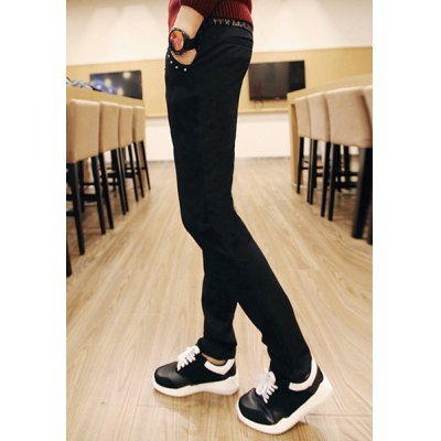 Гаджет   Slimming Trendy Lace-Up Metal Design Selvedge Splicing Narrow Feet Cotton Blend Pants For Men Pants