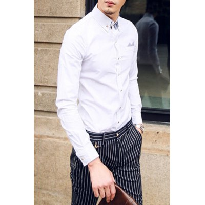 Гаджет   Personality Stripes Turn-down Collar Slimming Breast Pocket Embellished Long Sleeves Men