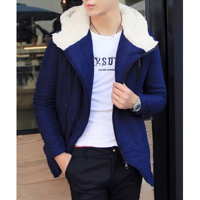 Гаджет   Stylish Hooded Slimming Zipper Design Patches Splicing Long Sleeve Thicken Cotton Blend Coat For Men Jackets & Coats