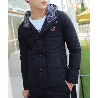 Гаджет   Stylish Hooded Slimming Badge Design Floral Splicing Long Sleeve Thicken Cotton Blend Coat For Men Jackets & Coats