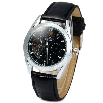 ФОТО CJIABA GX505 Automatic Mechanical Male Watch Hollow - out Round Dial Leather Strap