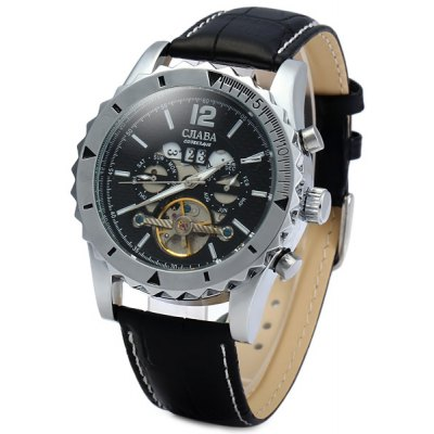 CJIABA DF306 Automatic Mechanical Men Watch Hollow - out Round Dial Wristwatch Calendar Leather Band Round Dial