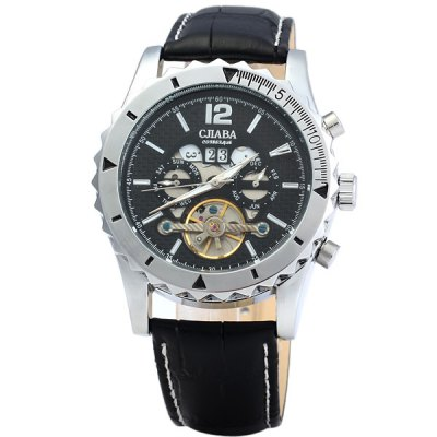 ФОТО CJIABA DF306 Automatic Mechanical Men Watch Hollow - out Round Dial Wristwatch Calendar Leather Band Round Dial