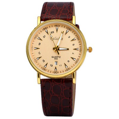 Гаджет   Kaladia 582 Quartz Male Watch Round Dial Date Display Leather Watchband Men