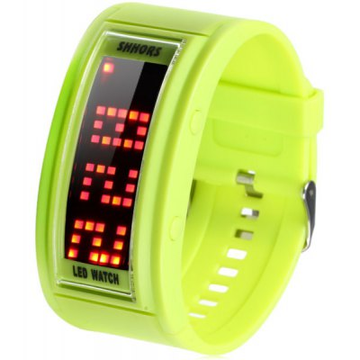 Shhors LED Watch Silicone Band Rectangle Dial