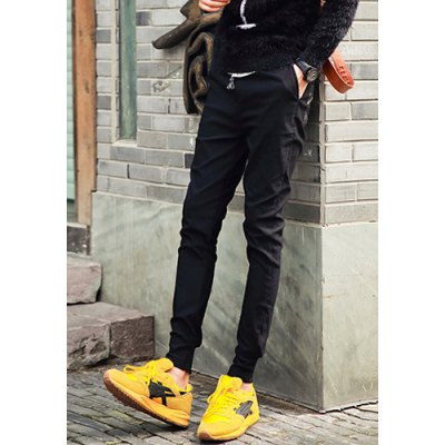 Гаджет   Slimming Fashion Lace-Up PU Leather Pockets Rib Splicing Beam Feet Thicken Cotton Blend Joggers Pants For Men Pants